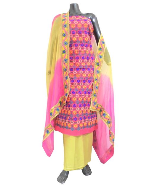 Handembroidered Salwar Suit with Champa Jaal-Pink&Beige