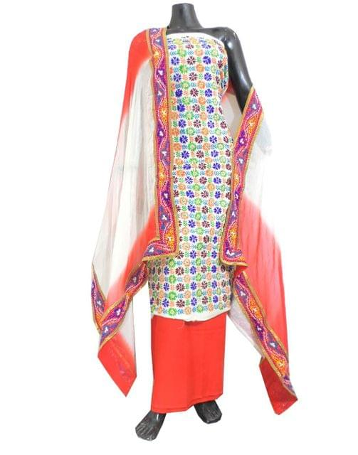 Handembroidered Salwar Suit with Champa Jaal-White&Orange
