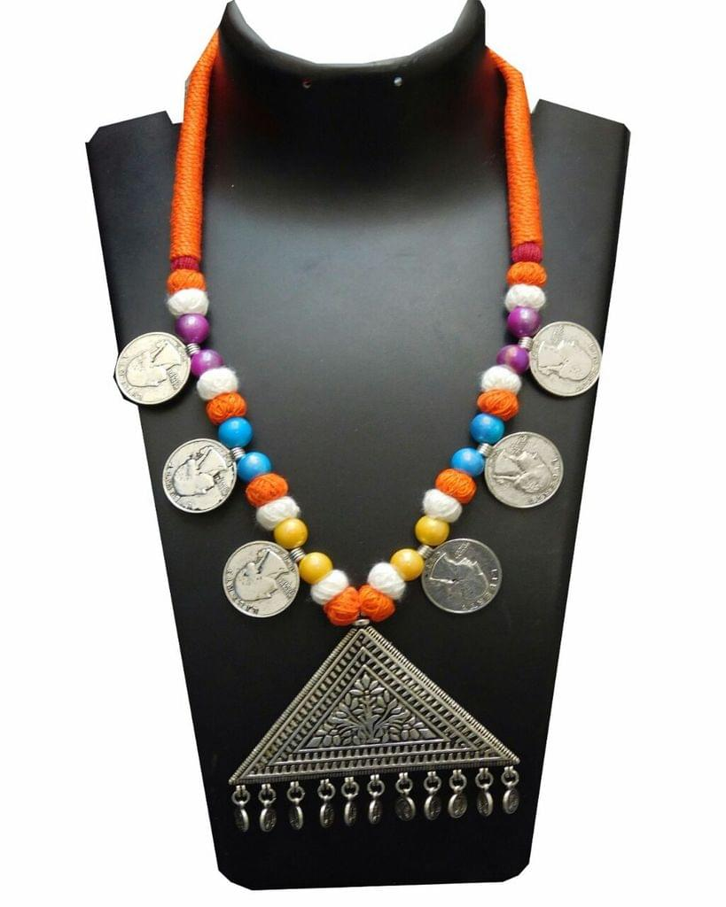 Threaded German Silver Necklace- Multicolored with Triangle Pendant