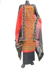 Handembroidered Salwar Suit with Champa Jaal-Red&Black 1