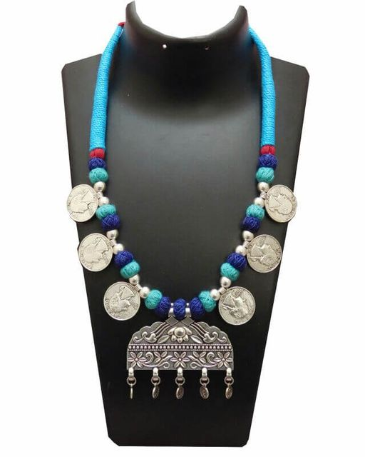 Threaded German Silver Necklace- Blue with Arabic Style Pendant