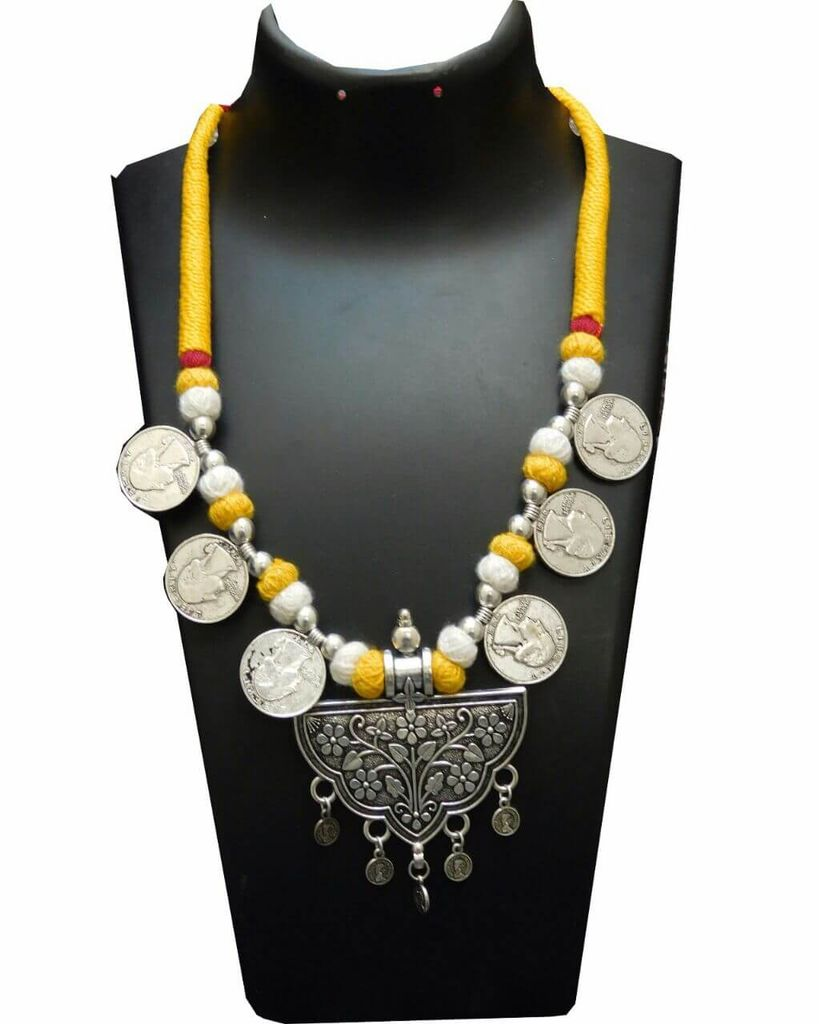 Threaded German Silver Necklace- Yellow with Arabic Style Pendant