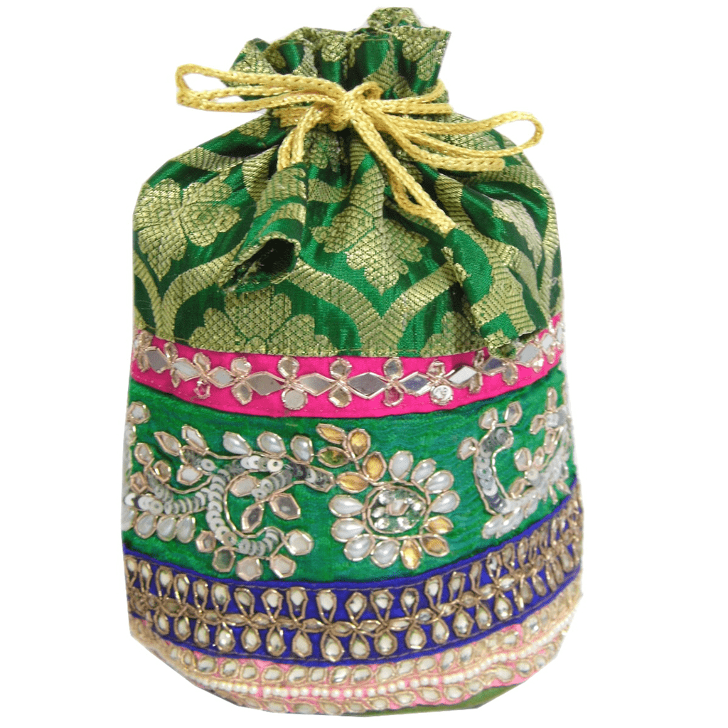 Embroidered Heavy Stone Work Potli-Green