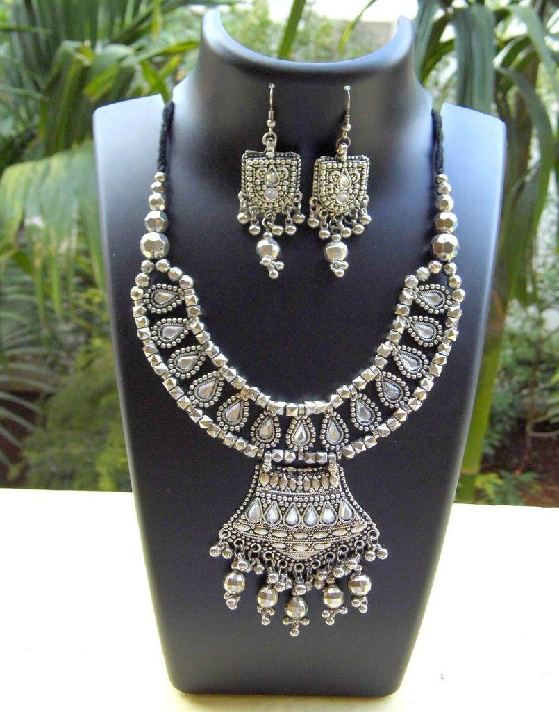 Oxidized Metal Jewellery Set- White Beads Pendant