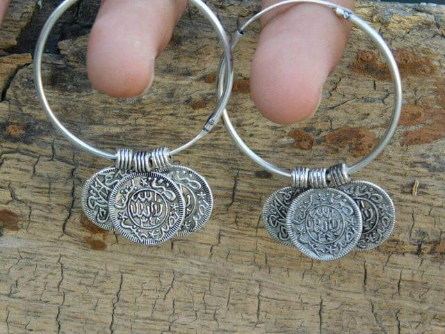 German Silver Hoop Earrings- Arabic Coins