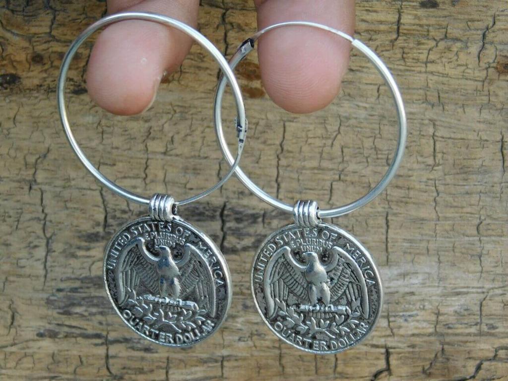 German Silver Hoop Earrings- Quarter Coin