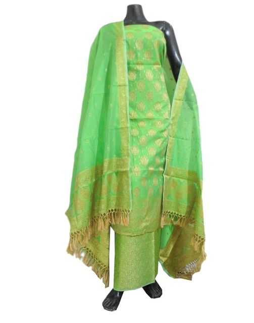 Benarasi Jamdani Brocade Suit in Silk-Cotton-Green