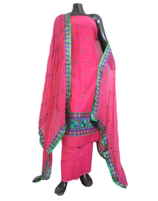 Unstitched Phulkari Suit Piece Cotton Silk-Pink