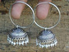 German Silver Hoop Earrings- Silver Bead Jhumkas 1