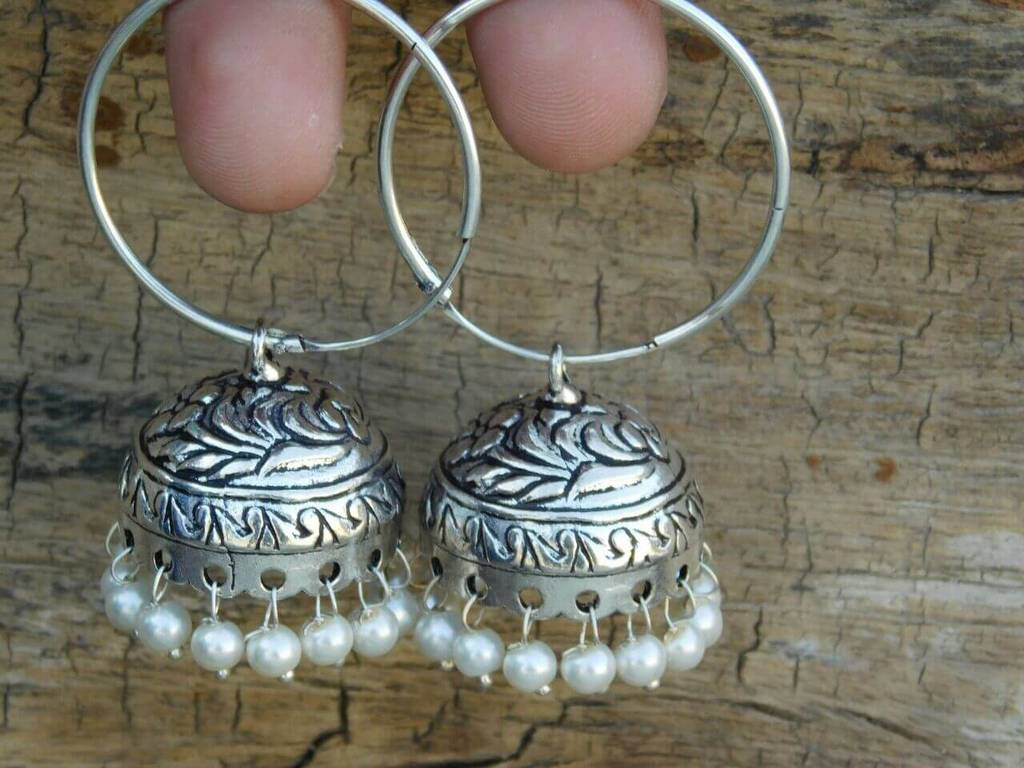 German Silver Hoop Earrings- Pearl Bead Jhumkas 1