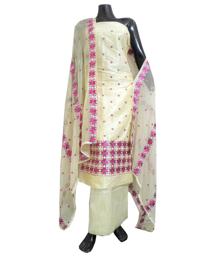Unstitched Phulkari Suit Piece Cotton Silk-Grey&Pink