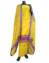 Unstitched Phulkari Suit Piece Cotton Silk-Yellow