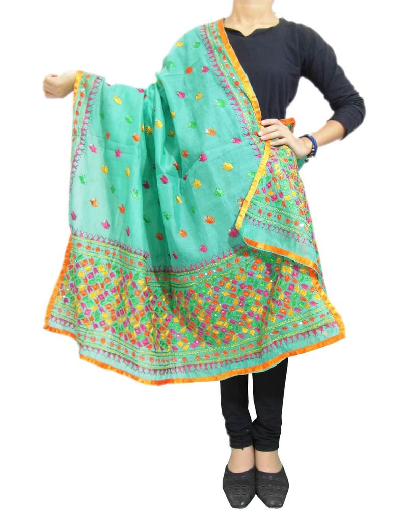Chanderi Phulkari/Bagh Dupatta-Sea Green