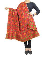 Cotton Bagh/Phulkari Dupatta-Red