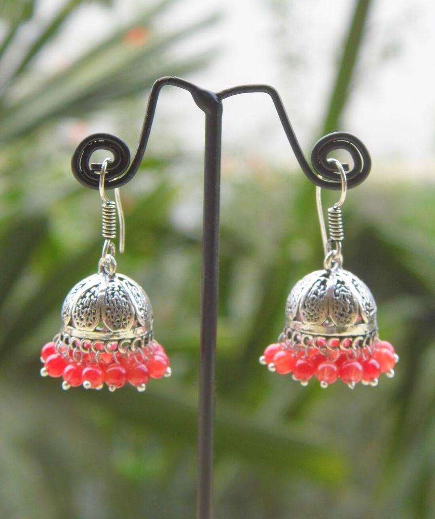 Oxidized Metal Jhumkas/Jhumkis- Red Beads