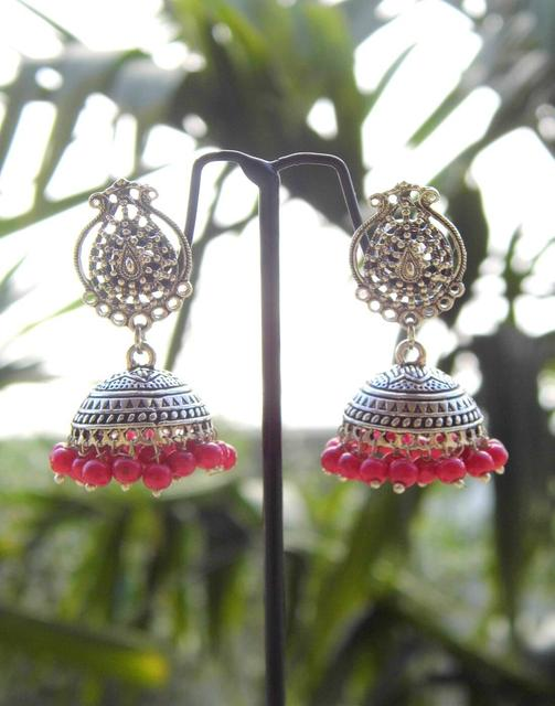 German Silver Jhumkas/Jhumkis-Red Beads