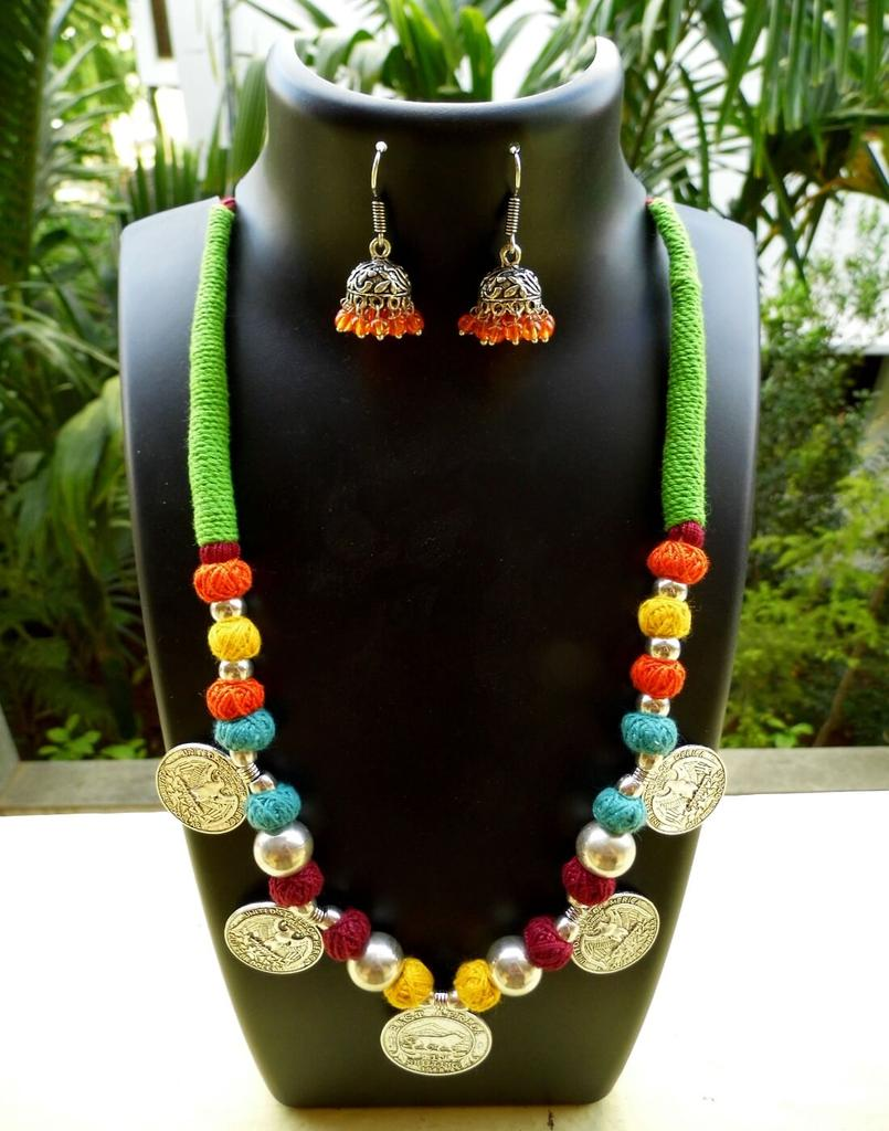 Threaded German Silver Necklace Set- Multicolored