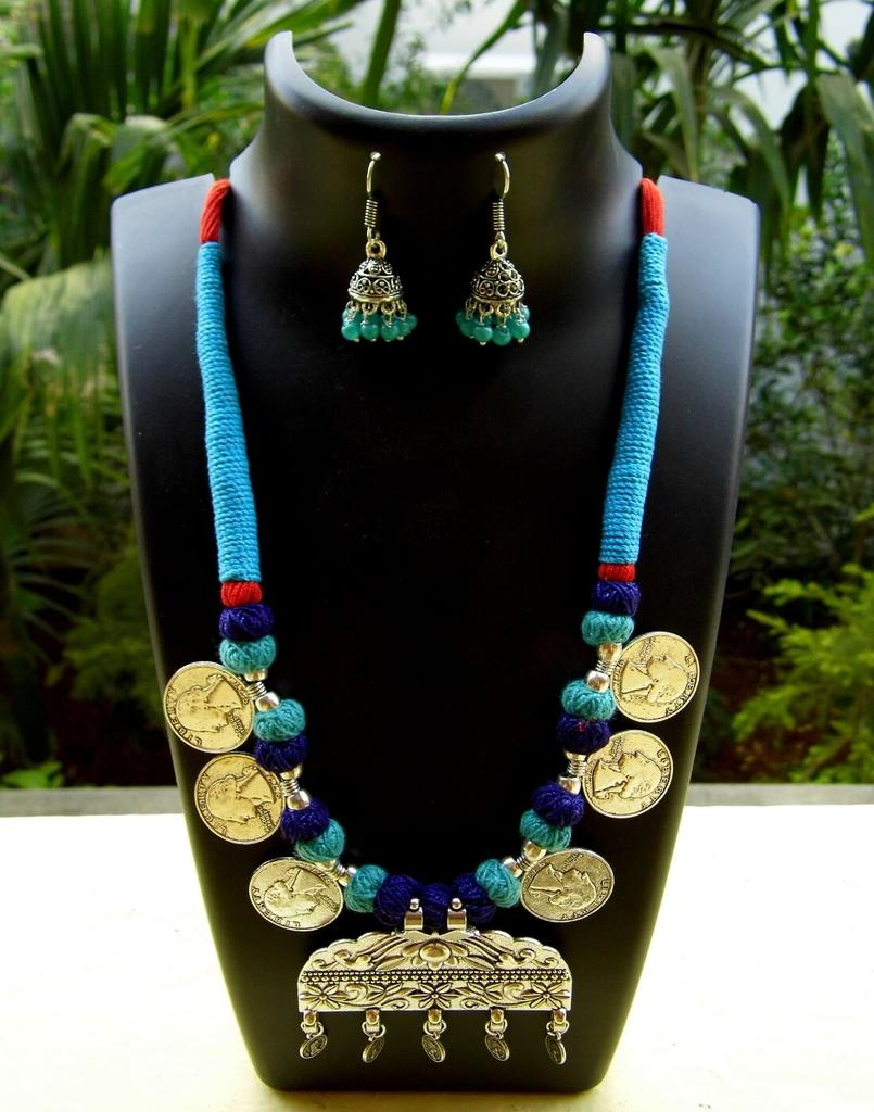 Threaded German Silver Necklace Set- Blue with Arabic Style Pendant