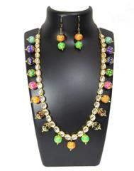 Kundan Meenakari Jewelry Set- Multicolored Beads