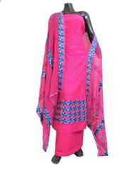 Unstitched Phulkari Suit Piece Cotton Silk-Pink&Blue