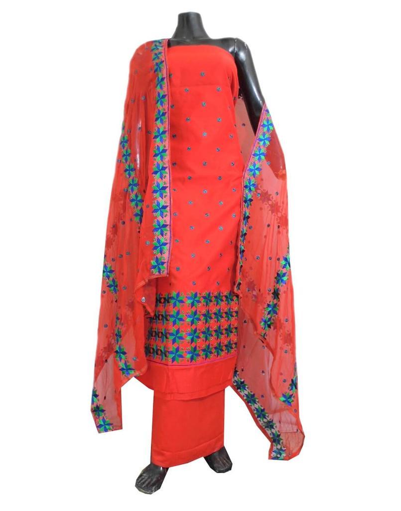 Unstitched Phulkari Suit Piece Cotton Silk-Red