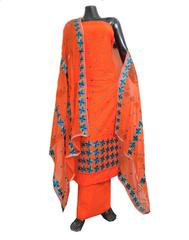 Unstitched Phulkari Suit Piece Cotton Silk-Orange