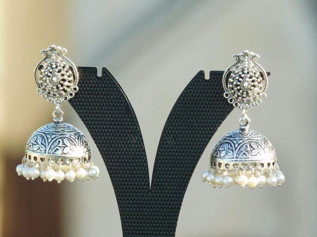 German Silver Jhumkas/Jhumkis-Pearl Beads