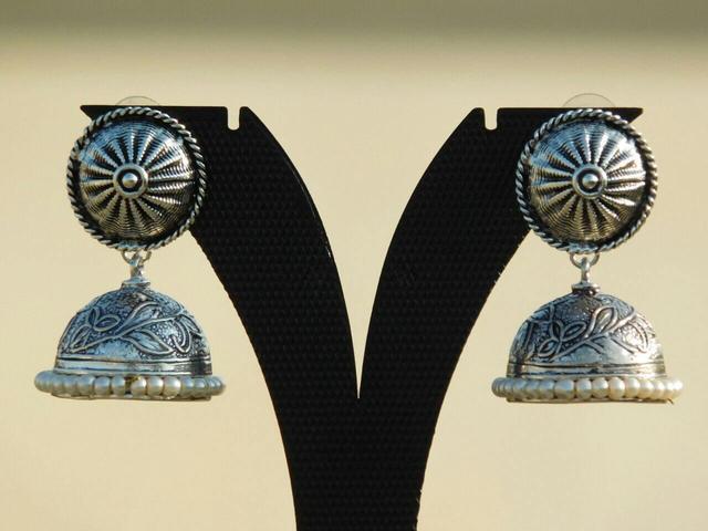 German Silver Round Stud Jhumkas/Jhumkis-Pearl Beads