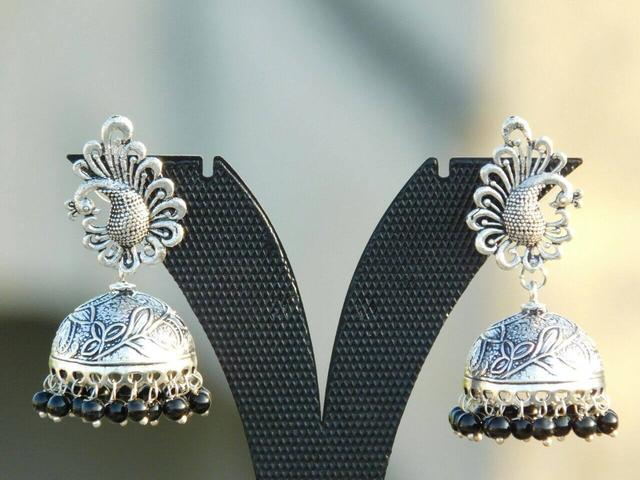 German Silver Peacock Stud Jhumkas/Jhumkis-Black Beads