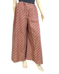 Cotton Hand Block Print Pakistani Palazzo Pants- Maroon