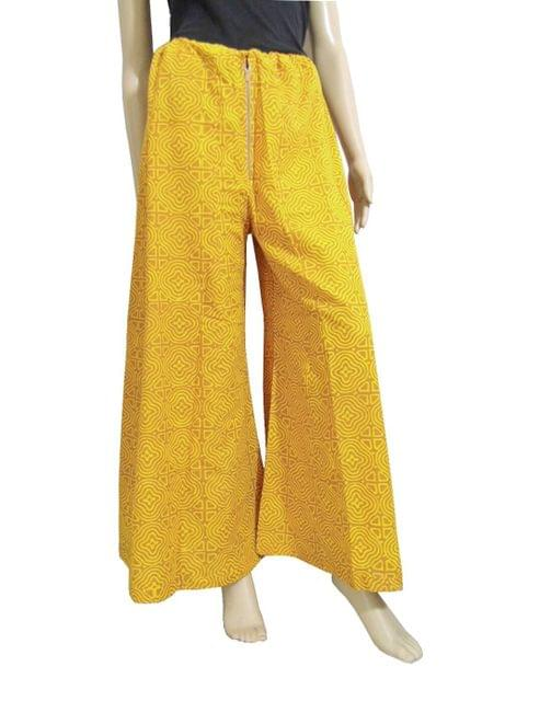 Cotton Hand Block Print Pakistani Palazzo Pants- Mustard1