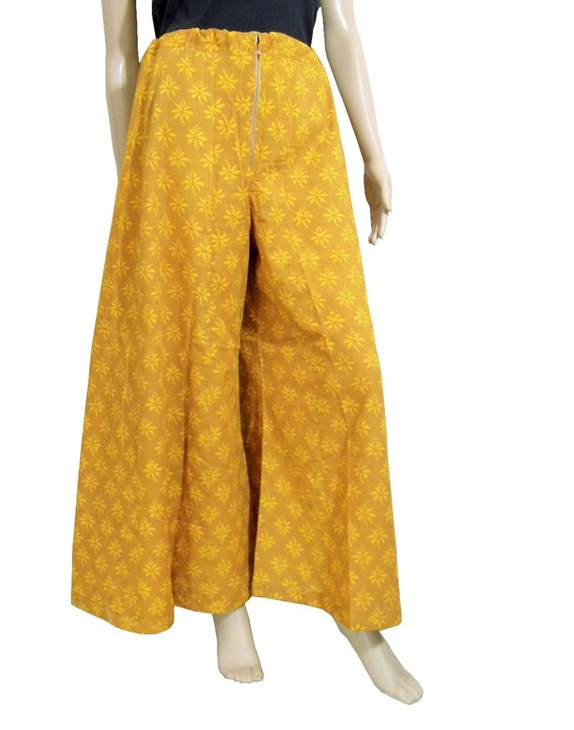 Cotton Hand Block Print Pakistani Palazzo Pants- Mustard2