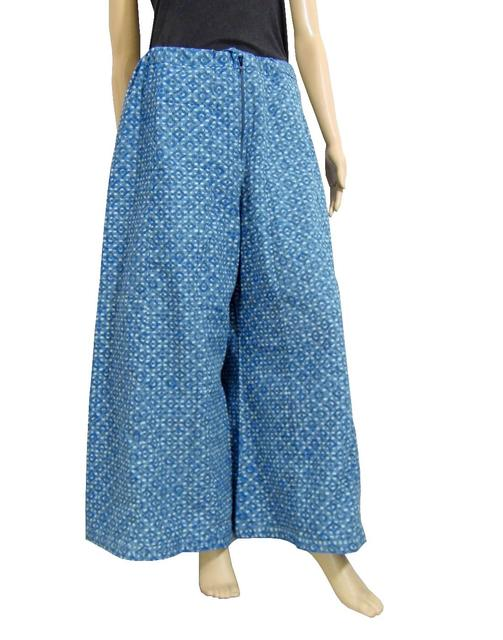 Cotton Hand Block Print Pakistani Palazzo Pants- Blue1