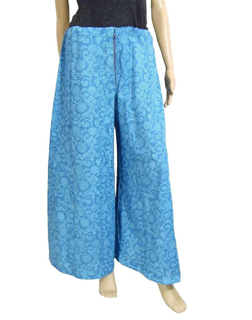 Cotton Hand Block Print Pakistani Palazzo Pants- Blue2