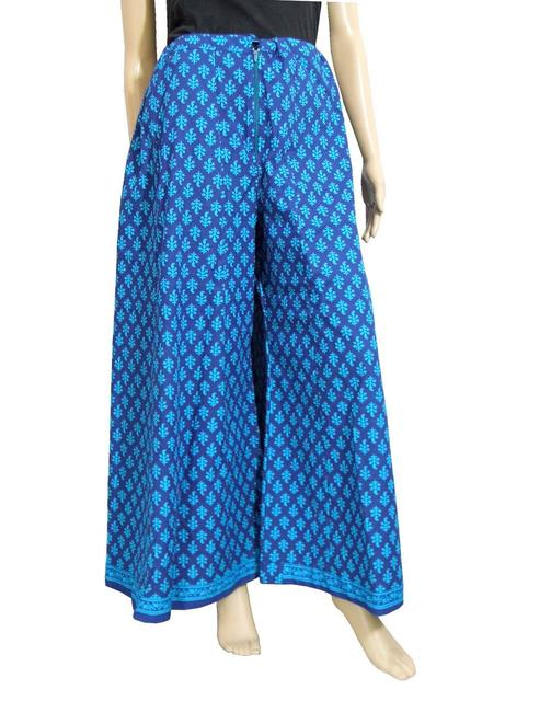 Cotton Hand Block Print Pakistani Palazzo Pants- Electric Blue