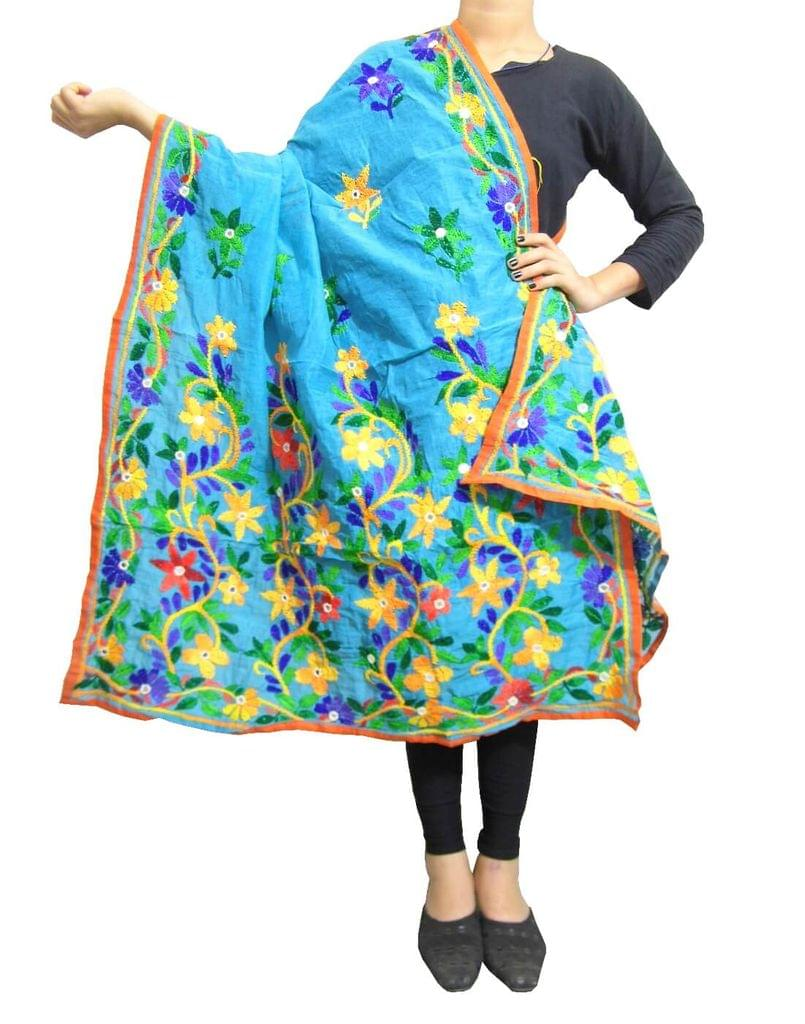 Chanderi Hand Embroidered Dupatta-Turquise 1