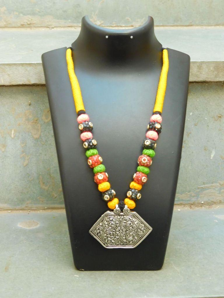Threaded German Silver Necklace- Hexagonal Pendant