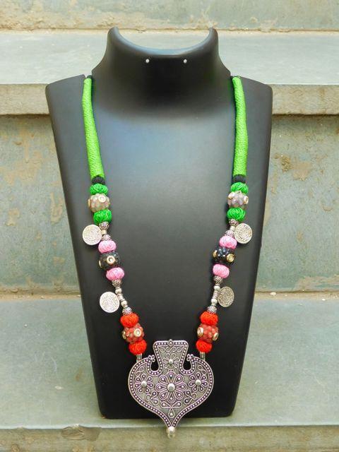 Threaded German Silver Necklace- Leaf Pendant1