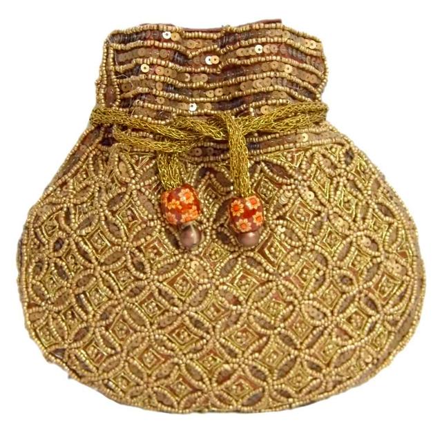 Handmade Beaded Drawstring Potli/Batwa- Brown