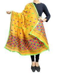 Chanderi Phulkari/Bagh Dupatta-Yellow