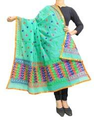 Chanderi Phulkari/Bagh Dupatta-Sea Green 1
