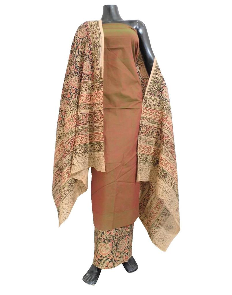Kalamkari Block Print Cotton Suit-Brown