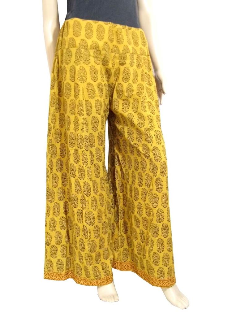 Bagh Print Cotton Pakistani Palazzo Pants-Yellow