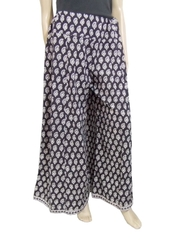 Bagh Print Cotton Pakistani Palazzo Pants- Black& White