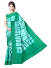 Cotton Shibori Saree-Green