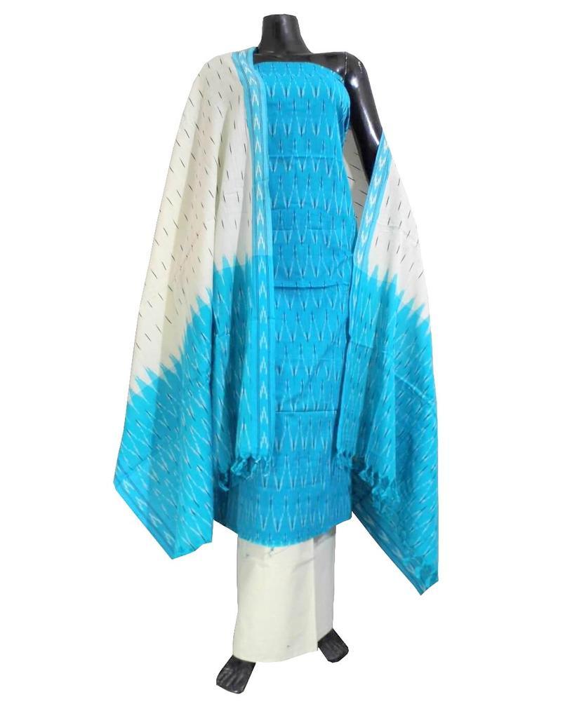 Handloom Cotton Ikat Salwar Suit- White&Turquoise