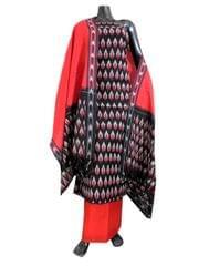 Handloom Cotton Ikat Salwar Suit- Red&Black