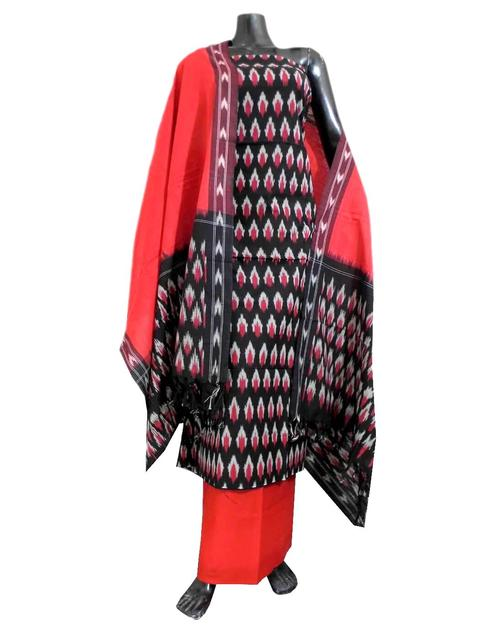 Handloom Cotton Ikat Salwar Suit- Red&Black