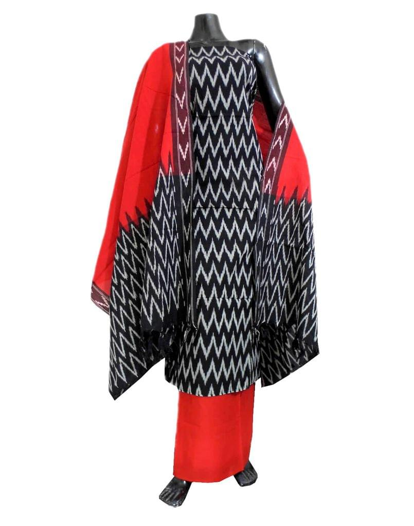 Handloom Cotton Ikat Salwar Suit- Black&Red