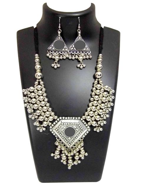 Oxidized Metal Jewellery Set-White Beads 1